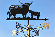Highland cow and calf 4ft. wide ornate weathervane